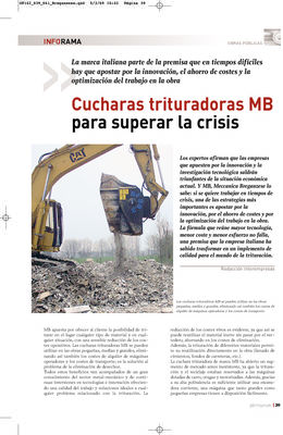 Cucharas trituradoras MB para superar la crisis