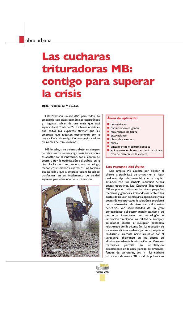 Las cucharas trituradoras MB: contigo para superar la crisis