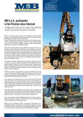 MB S.p.A. participates in the Parisian show Intermat