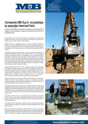 Compania MB S.p.A. va participa la expoziôia Intermat-Paris