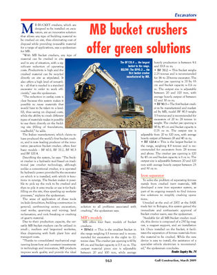 MB bucket crusher offer green solutions