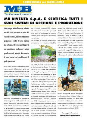 MB diventa S.p.A. e certifica tutti i suoi sistemi di gestione e produzione