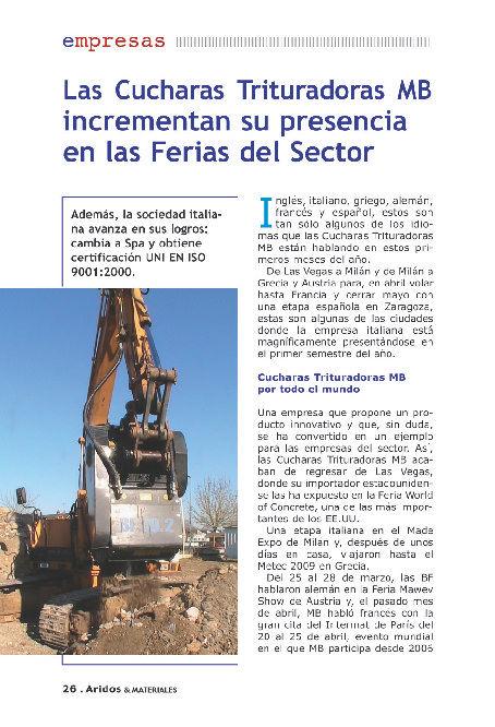 Las Cucharas Trituradoras MB incrementan su presencia en las Ferias del Sector