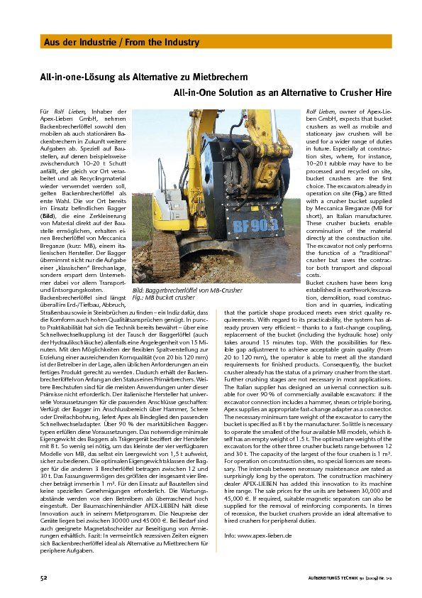 All-in-one-Lösung als Alternative zu Mietbrechern All-in-One Solution as an Alternative to Crusher Hire