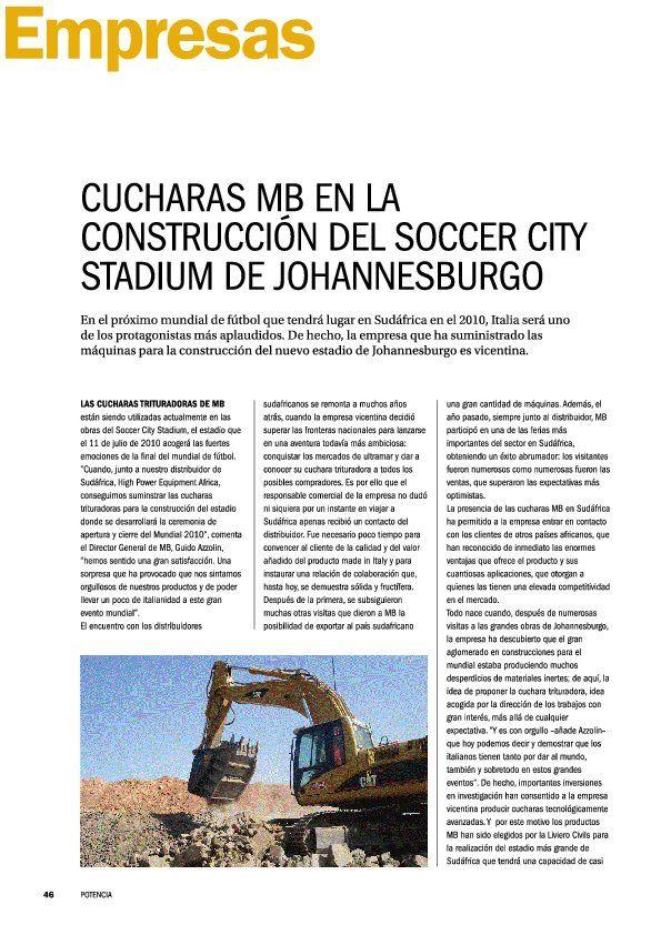Cucharas MB en la construccion el soccer city stadium de Johannesburgo