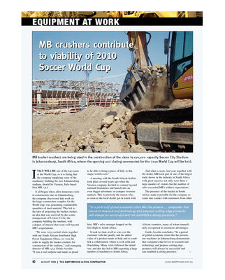 MB crushers contribute to viability of 2010 Soccer World Cup