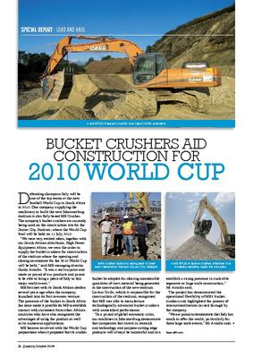 Bucket crushers aid construction for 2010 WORLD CUP