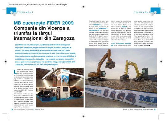 MB cucerešte FIDER 2009 Compania din Vicenza a triumfat la târgul internaøional din Zaragoza