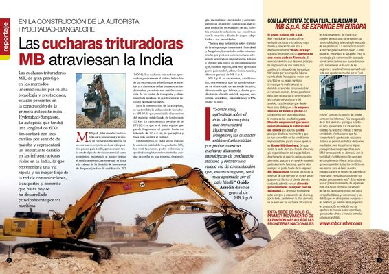 Las cucharas trituradoras MB atraviesan la India