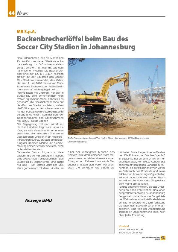 Backenbrecherlöffel beim Bau des Soccer City Stadion in Johannesburg