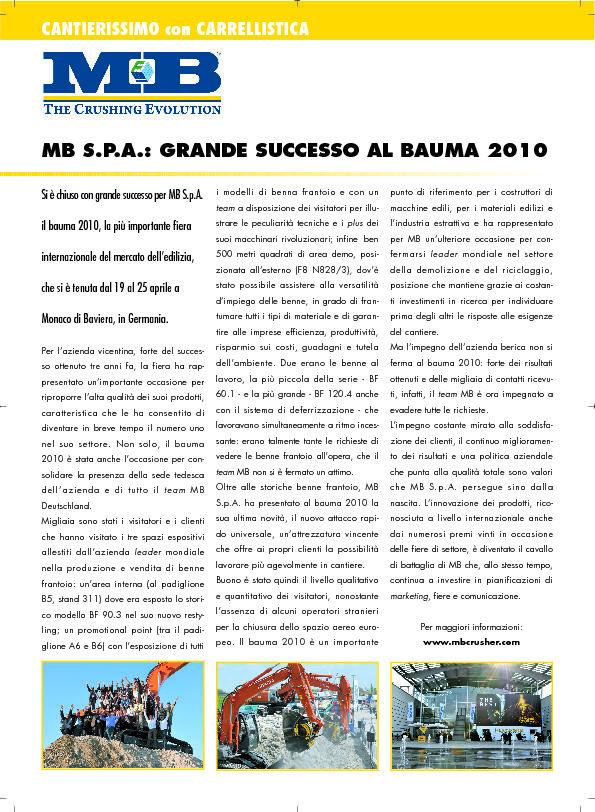 MB S.P.A.: grande successo al Bauma 2010!