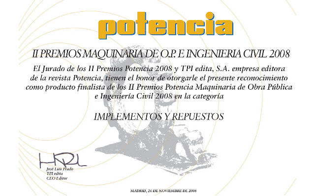 "POTENCIA AWARD ""II PREMIOS MAQUINARIA DE O.P. E INGENIERIA CIVIL"""