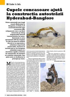Cupele concasoare ajutã la construcþia autostrãzii Hyderabad-Banglore