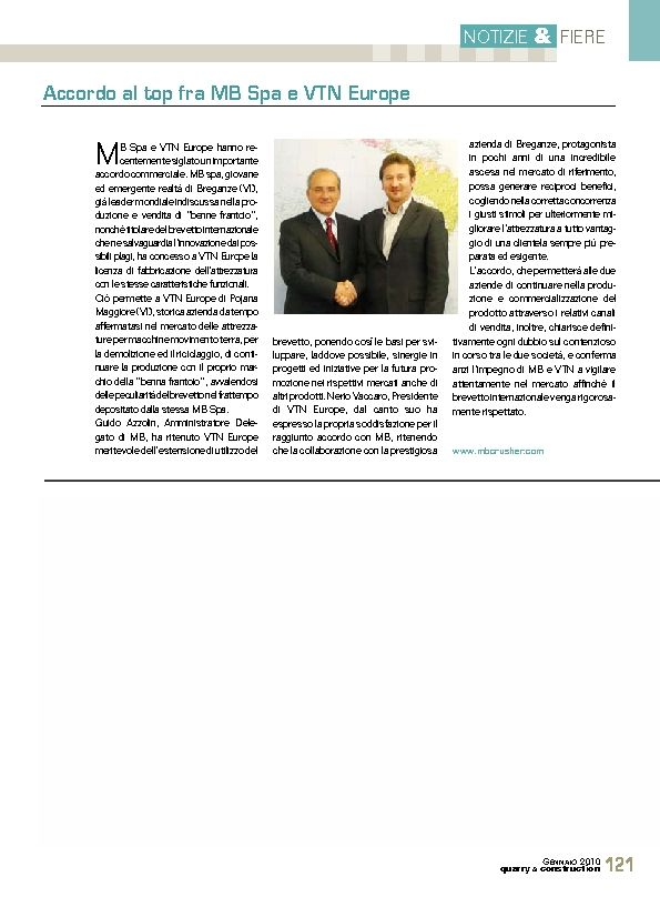 Accordo al top fra MB Spa e VTN Europe