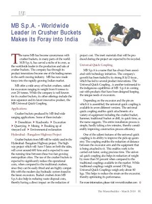 MB S.p.A. - Worldwide Leader in Crusher Buckets Makes its Foray into India