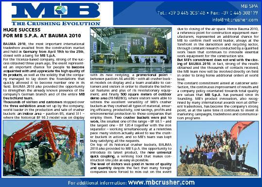Huge Succes for MB S.p.A. at Bauma 2010