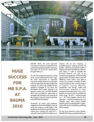 HUGE SUCCESS FOR MB S.P.A. AT BAUMA 2010