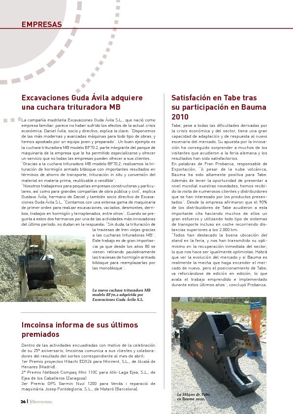 Excavaciones Guda Ávila adquiere una cuchara trituradora MB
