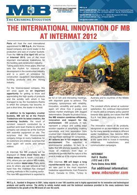 The International Innovation of MB at Intermat 2012