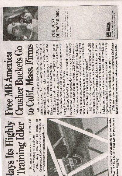 Free MB America Crusher Buckets go to Calif.,Mass. Firm