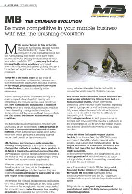 Be more competitive in your marble business  with MB, the crushing evolution