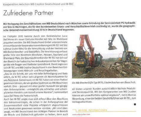Zufriedene Partner: Kooperation zwischen MB Crusher Dreutschland und M-TEC