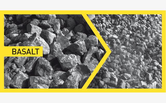 Basalt - after before crushing