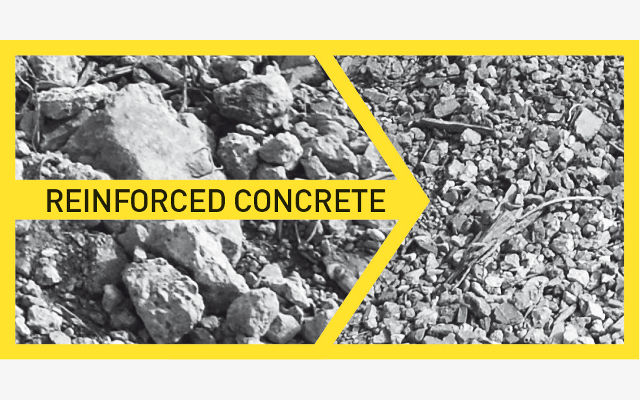 Reinforced concrete - after before crushing