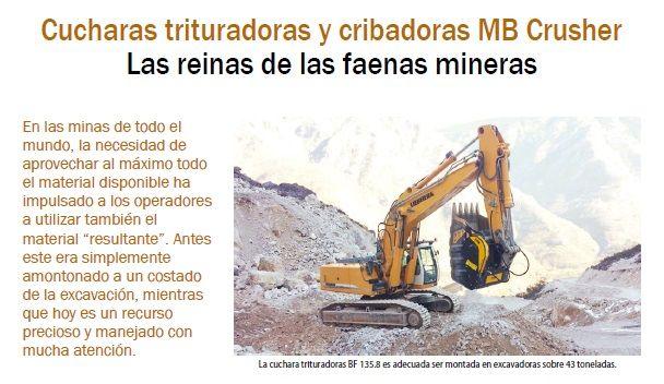 Cucharas trituradoras y cribadoras MB Crusher Las reinas de las faenas mineras