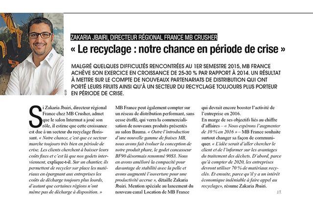 Le recyclage: notre chance en période de crise
