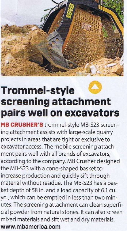 Trommel-style screening attachment pairs well on excavators