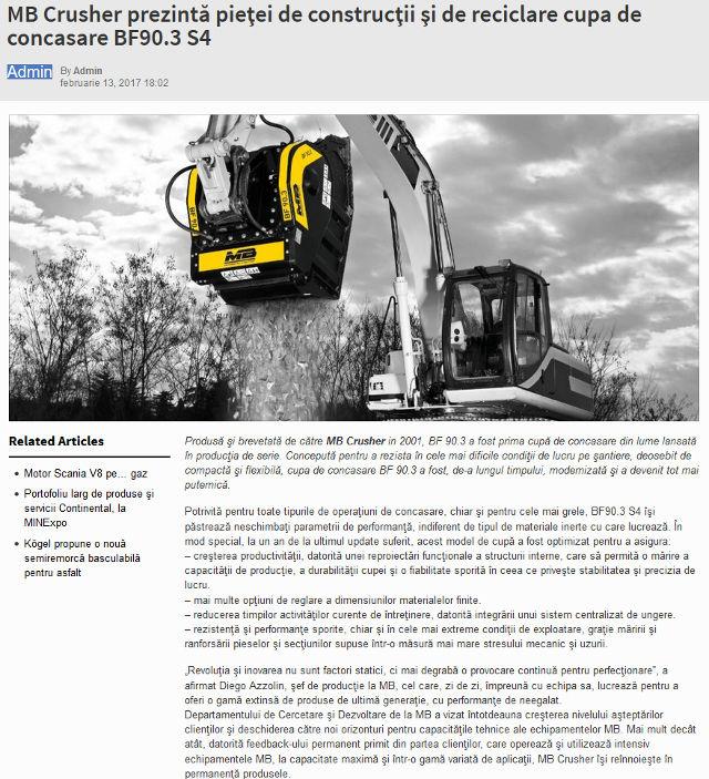 MB Crusher prezintă pieţei de construcţii şi de reciclare cupa de concasare BF90.3 S4