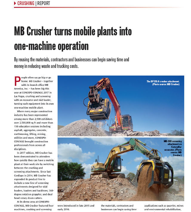 MB Crusher turns mobile plants into one-machine operation