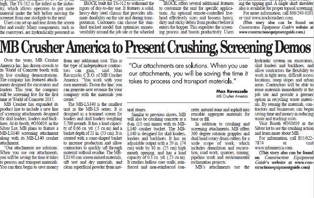 MB Crusher America to present Crushing, Screening Demos
