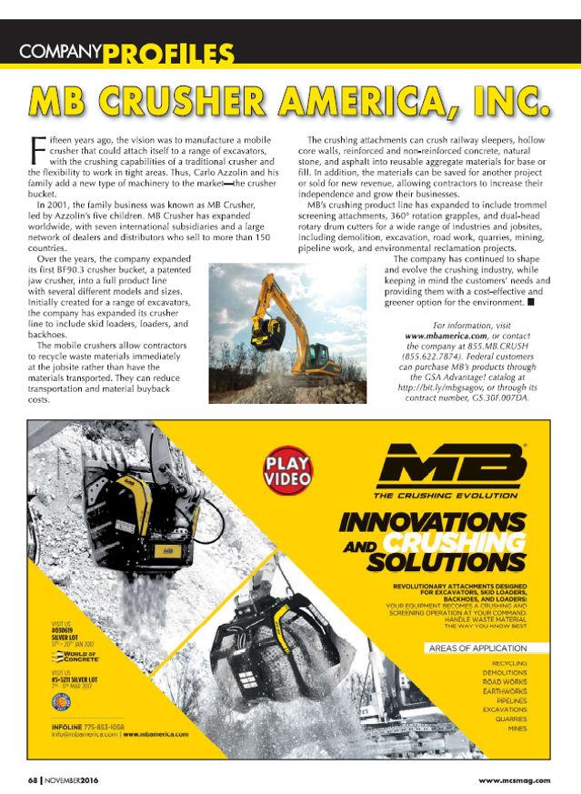 MB Crusher America Inc, Company Profile