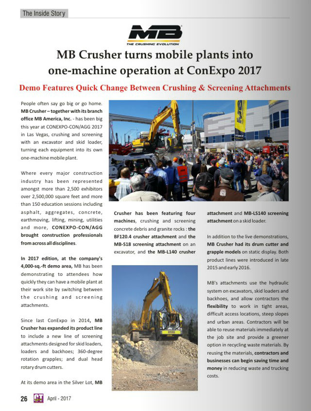 MB Crusher turns mobile plants into one-machine operation at ConExpo 2017