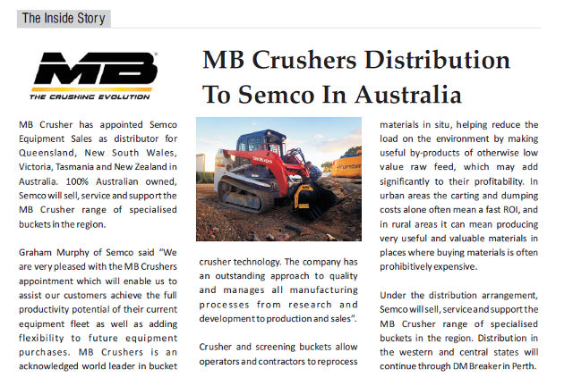 MB Crushers distribution to Semco in Australia