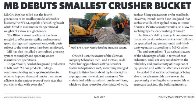 MB debuts smallest Crusher Bucket