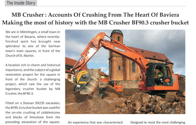 MB Crusher : accounts of crushing from the heart of Baviera making the most of history with the MB Crusher BF90.3 crusher bucket