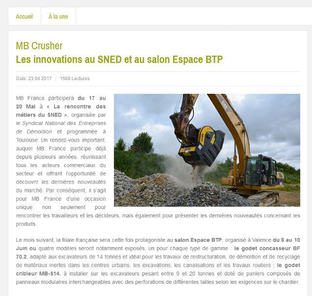 MB Crusher : les innovations au SNED et au salon Espace BTP
