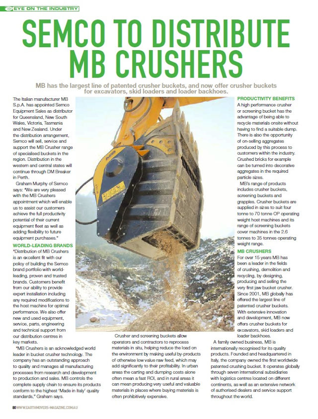 Semco to distribute MB Crushers