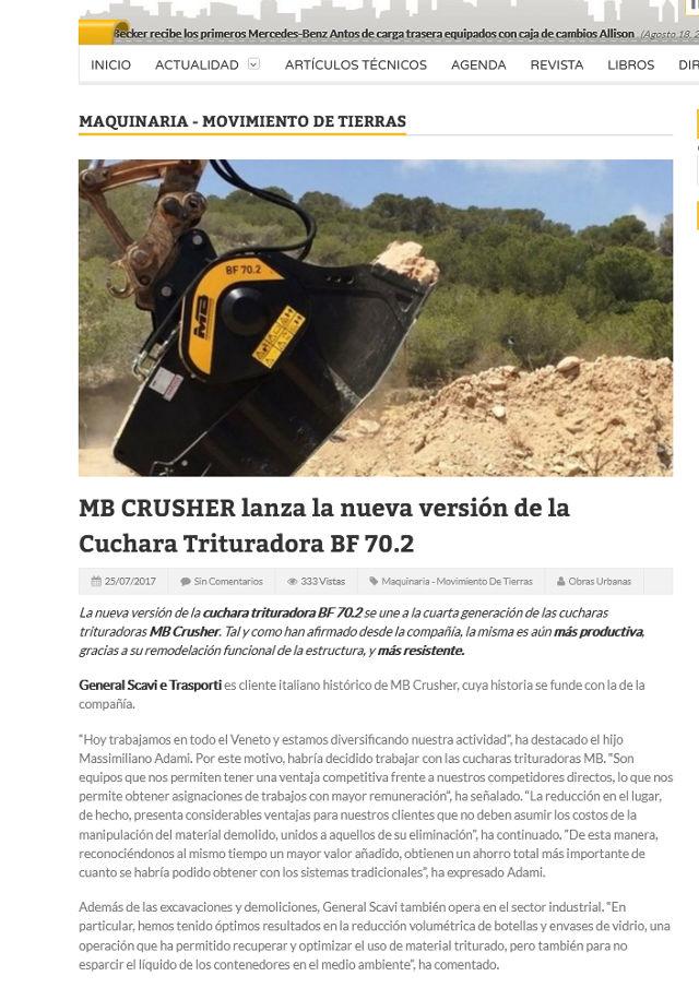MB Crusher lanza la nueva versión de la Cuchara Trituradora BF 70.2