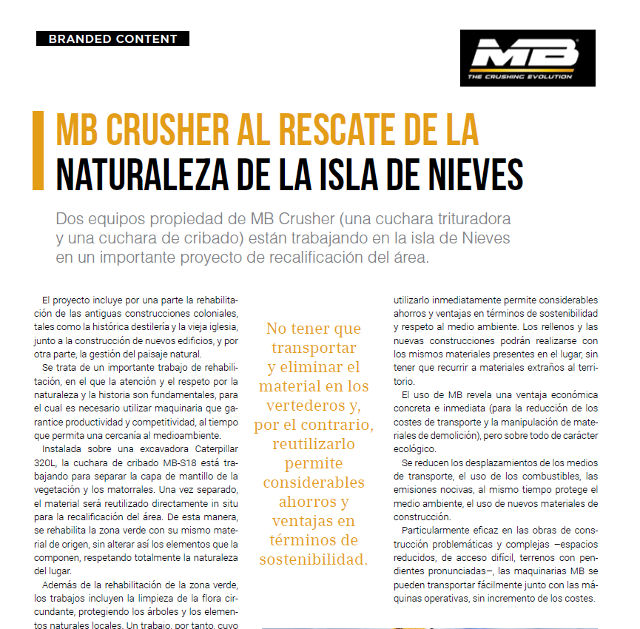 MB Crusher al rescate de la naturaleza de la Isla de Nieves