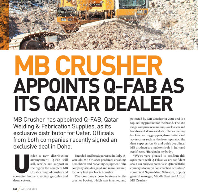 MB Crusher appoints Q-Fab as its Qatar dealer