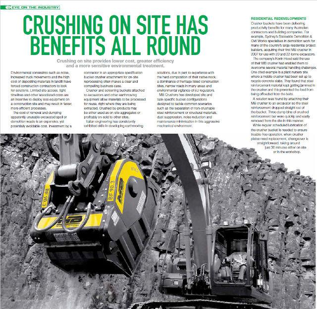 Crushing on site has benefits all around