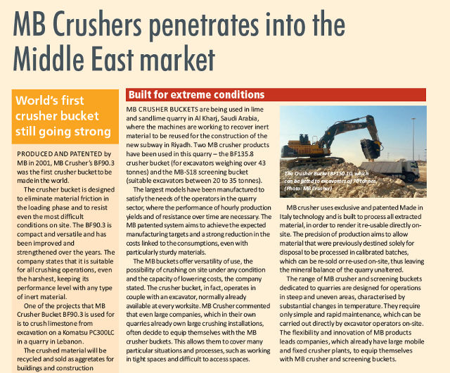 MB Crushers penetrates into the Middle East market