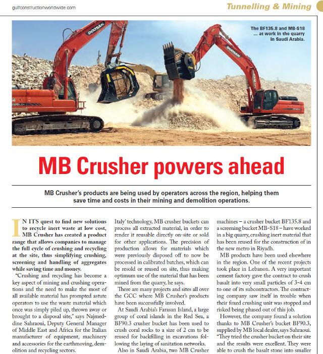 MB Crusher powers ahead