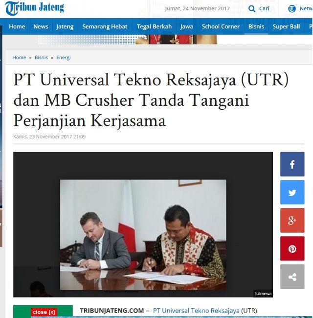 PT Universal Tekno Reksajaya (UTR) dan MB Crusher Tanda Tangani Perjanjian Kerjasama
