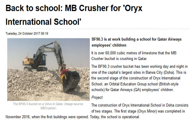 Back to school: MB Crusher for 'Oryx International School'