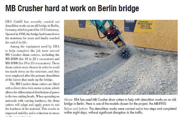 MB Crusher hard at work on Berlin bridge
